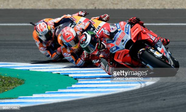 TOPSHOT Ducati Team's Spanish rider Jorge Lorenzo competes during the MotoGP race of the Spanish Grand Prix at the Jerez Angel Nieto racetrack in...