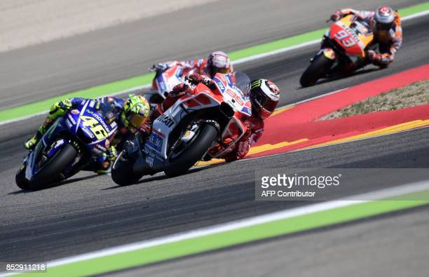 Ducati Team's Spanish rider Jorge Lorenzo rides during MotoGP race of the Moto Grand Prix of Aragon at the Motorland circuit in Alcaniz on September...