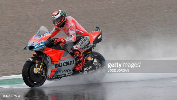Ducati Team's Spanish rider Jorge Lorenzo rides during the first free practice session of the MotoGP Valencia Grand Prix at the Ricardo Tormo...