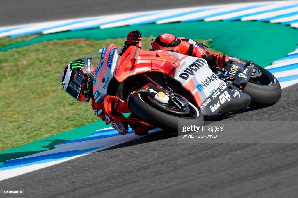 Ducati Team's Spanish rider Jorge Lorenzo rides during the first MotoGP free practice session of the Spanish Grand Prix at the Jerez racetrack in Jerez de la Frontera on May 4, 2018.