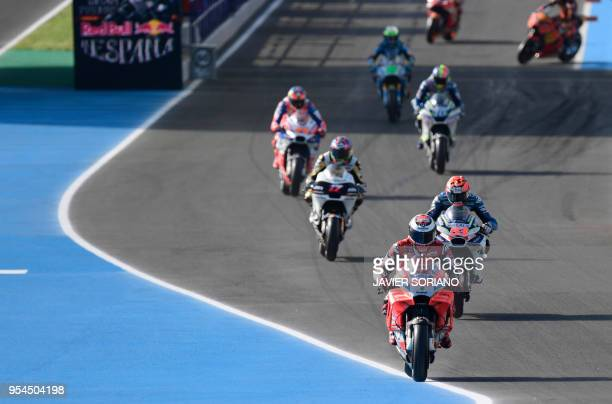 Ducati Team's Spanish rider Jorge Lorenzo rides during the first MotoGP free practice session of the Spanish Grand Prix at the Jerez racetrack in...