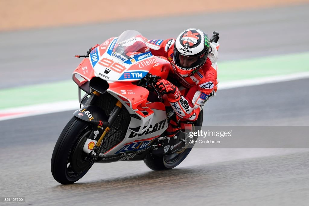 Ducati Team's Spanish rider Jorge Lorenzo rides during the Moto GP second free pratice of the Moto Grand Prix of Aragon at the Motorland circuit in Alcaniz on September 22, 2017. /