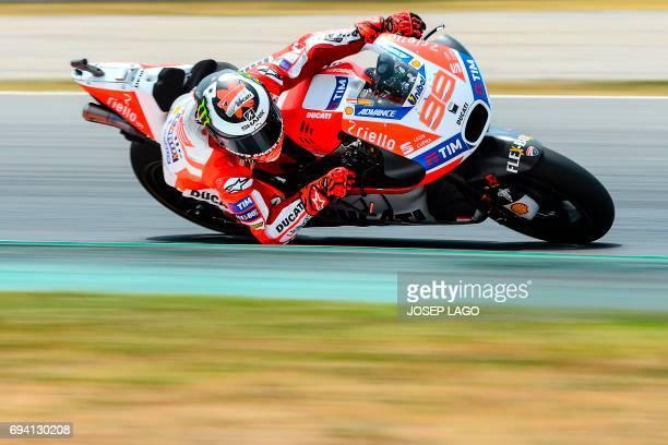 Ducati Team's Spanish rider Jorge Lorenzo rides during the second MotoGP free practice session of the Moto Grand Prix de Catalunya at the Circuit de...