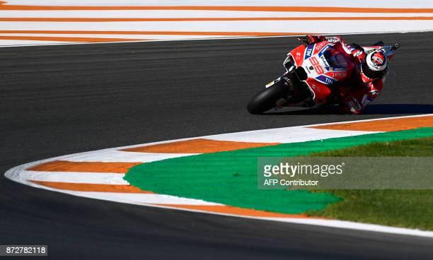 Ducati Team's Spanish rider Jorge Lorenzo rides during the third MotoGP free practice session of the Valencia Grand Prix at Ricardo Termo racetrack...