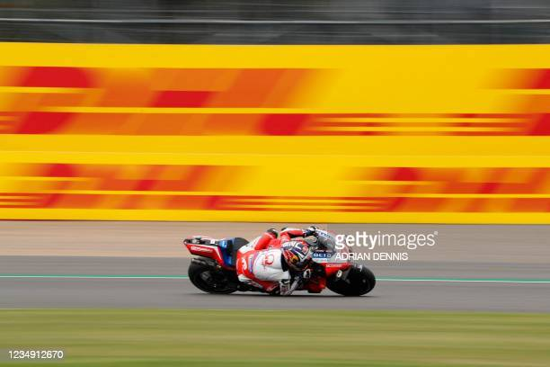 Ducati-Pramac French rider Johann Zarco rides his motorbike during the third MotoGP free practice session of the motorcycling British Grand Prix at...