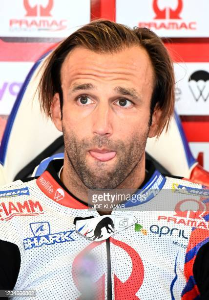 Ducati-Pramac French rider Johann Zarco takes a break during the third free practice session ahead of the Austrian Motorcycle Grand Prix at the Red...