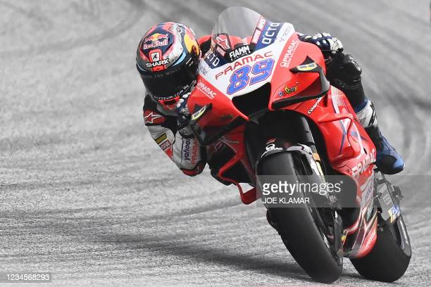 Ducati-Pramac Spanish rider Jorge Martin competes on his motorbike during the Styrian Motorcycle Grand Prix at the Red Bull Ring race track in...