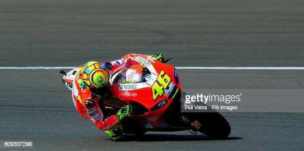 Ducati's Valentino Rossi of Italy during MotoGP free practice 3 during the 2011 Airasia British Moto GP Qualifying Day at Silverstone Circuit...