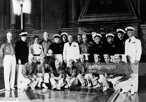 Duce Benito Mussolini poses with the Italian national soccer team 01 July 1938 during a reception at the Palazzo Venezia in Rome Italy winner of the...