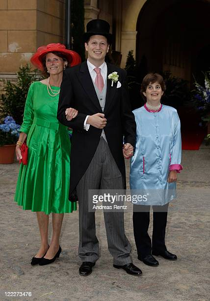 Duchess Donata of Oldenburg Georg Friedrich Ferdinand Prince of Prussia and sister Princess CornelieCecilie attend the religious wedding ceremony of...