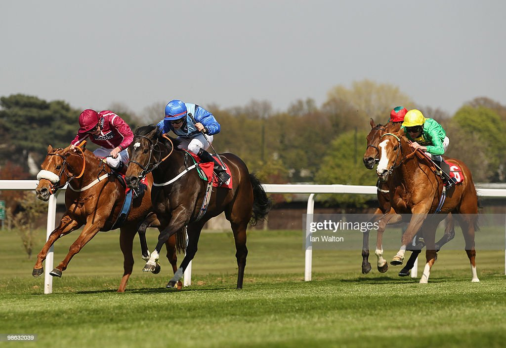 Duchess Dora ridden by jockey, Ian Brennan (Blue Cap) wins the bet365.com Handicap Stakes at Sandown Park Race Course on April 23, 2010 in Esher, England.