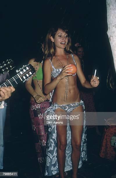 Duchess Elga de Caraman enjoying herself at a beach party in Acapulco January 1968