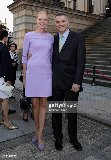 Duchess Elisabeth in Bayern and her husband Daniel Terberger arrives for a charity concert at the Gendarmenmarkt concert hall on August 26 2011 in...