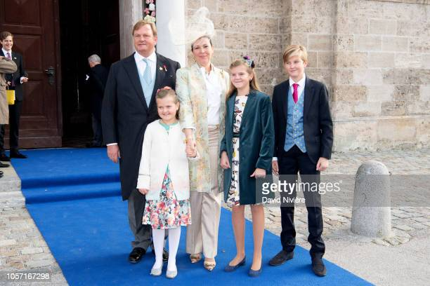 Duchess Fleur of Wurttemberg with her husband Count Moritz von Goess and their children Zeno Flaminia and Livia arrive at the SaintQuirin Church for...