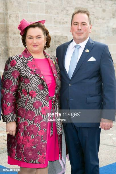 Duchess Helene of Bavaria and Sebastian Leiner arrive at the SaintQuirin Church for the wedding of Duchess Sophie of Wurttemberg and Count Maximilian...