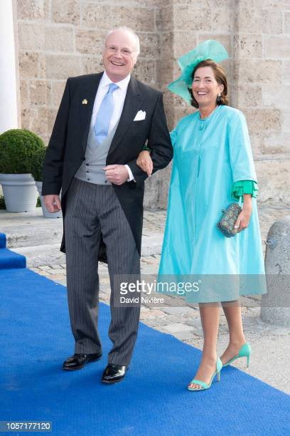 Duchess Julia of Wurttemberg and Duke Michael of Wurttemberg arrive at the SaintQuirin Church for the wedding of Duchess Sophie of Wurttemberg and...