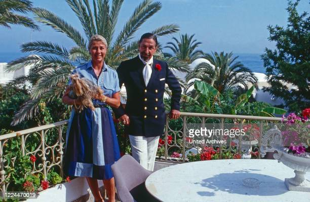 Duchess Magrit de Mora y Aragon with her husband Don Jaime at Marbella Spain 1991