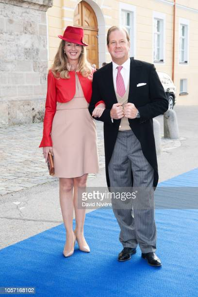 Duchess Maria Anna of Bavaria and Baron Andreas von Maltzan arrive at the SaintQuirin Church for the wedding of Duchess Sophie of Wurttemberg and...