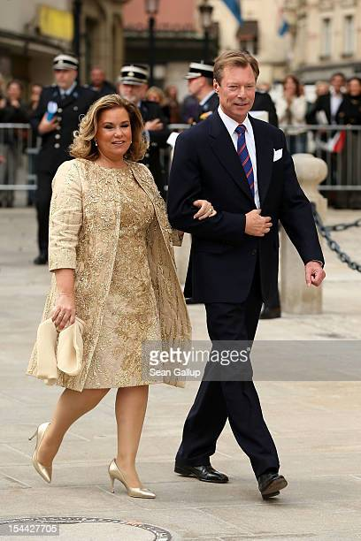 Duchess Maria Teresa of Luxembourg and Grand Duke Henri of Luxembourg on their way back from the civil ceremony for the wedding of Prince Guillaume...