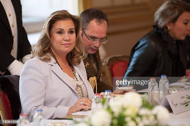 Duchess Maria Teresa of Luxembourg looks on during the fourth meeting of Honorary Board of the International Paralympic Commitee hosted by Princess...