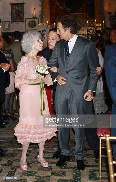 Duchess of Alba Cayetana FitzJames Stuart and Alfonso Diez after their wedding at Duenas Palace on October 5 2011 in Seville Spain