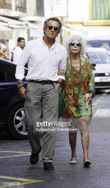 Duchess of Alba Cayetana FitzJames Stuart and Alfonso Diez are seen sighting on August 23 2011 in Ibiza Spain