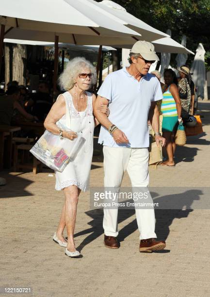 Duchess of Alba Cayetana FitzJames Stuart and Alfonso Diez are seen shopping at Santa Gertrudis street market on August 25 2011 in Ibiza Spain
