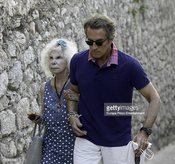 Duchess of Alba Cayetana FitzJames Stuart and Alfonso Diez are seen shopping in Ibiza steet market on August 28 2011 in Ibiza Spain