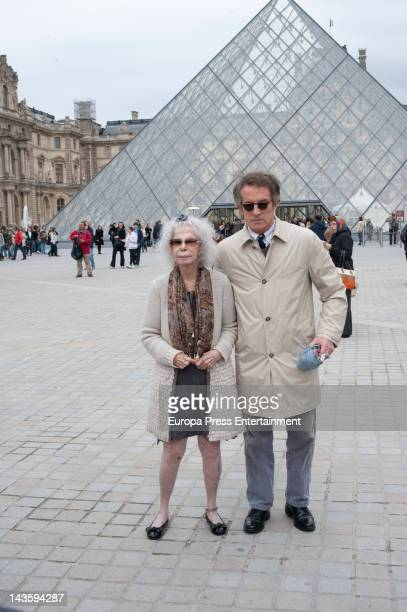 Duchess of Alba Cayetana FitzJames Stuart and Alfonso Diez during their honey moon visit Louvre and go to theater on April 27 2012 in Paris France