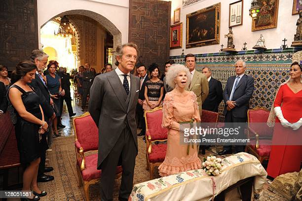 Duchess of Alba Cayetana FitzJames Stuart and Duke of Alba Alfonso Diez during their wedding at Duenas Palace on October 5 2011 in Seville Spain
