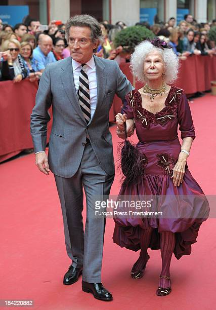 Duchess of Alba Cayetana FitzJames Stuart and Duke of Alba Alfonso Diez attend the wedding of Maria Colonques and Andres Benet on October 11 2013 in...