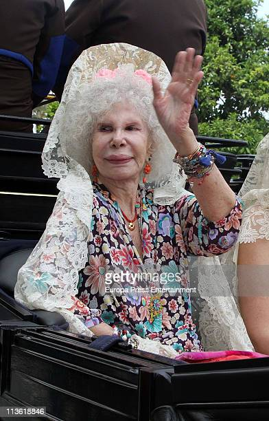 Duchess of Alba Cayetana FitzJames Stuart attends 'Feria de Abril 2011' the traditional Seville's Fair at El Real on May 4 2011 in Seville Spain