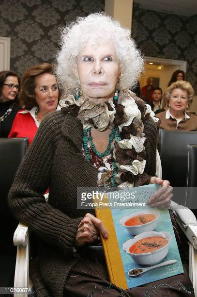 Duchess of Alba Cayetana FitzJames Stuart attends the launching of 'The cookbook of House of Alba' on March 16 2011 in Seville Spain