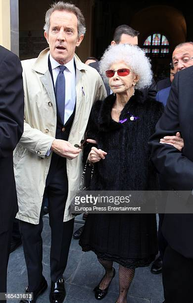 Duchess of Alba Cayetana FitzJames Stuart her husband Alfonso Diez are seen at 'Cristo de los gitanos' brotherhood procession during the Holy Week on...