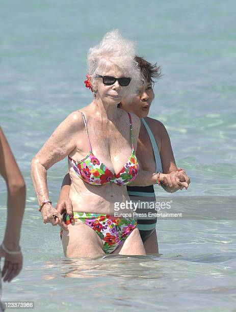 Duchess of Alba Cayetana FitzJames Stuart is seen enjoying a day on the beach on September 1 2011 in Ibiza Spain