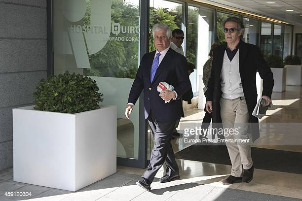 Duchess of Alba's son Duke of Huescar Carlos FitzJames Stuart and husband Alfonso Diez visit to Duchess of Alba in hospital on November 17 2014 in...