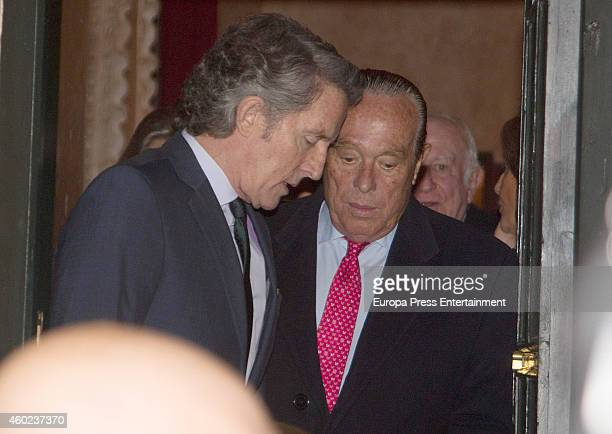 Duchess of Alba's widower Alfonso Diez and Curro Romero attend the homage to Duchess of Alba hold by Real Academia de las Bellas Artes de Santa...