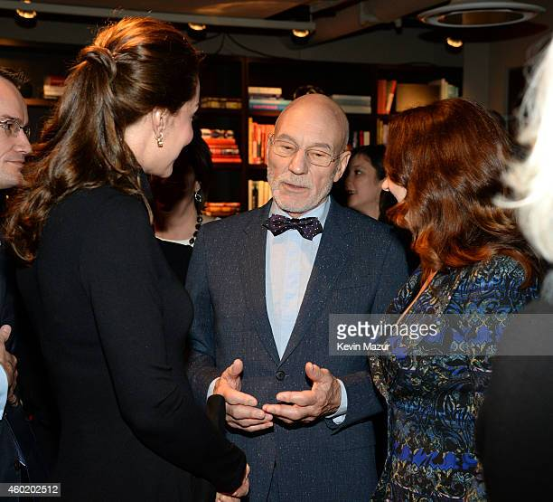 Duchess of Cambridge speaks to Sir Patrick Stewart OBE and Sunny Ozell at the Creativity is GREAT Britain's event in honour of the Duke and Duchess...