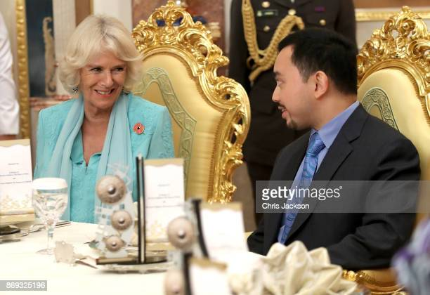 Duchess of Cornwall attends Tea with Crown Prince Haji AlMuhtadee Billah and the Royal Family during their visit to Istana Nurul Iman on November 2...