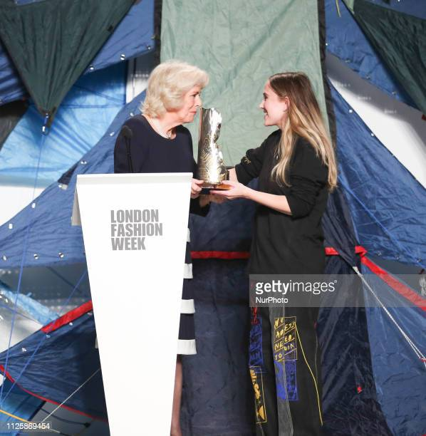 Duchess of Cornwall Camilla presents Elizabeth II Award for young talents in fashion to the winner Bethany Williams during London Fashion Week...