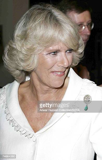 HRH Duchess of Cornwall wearing a brooch which was once part of one of Diana's necklaces attends the film premiere of The History Boys at the Odeon...