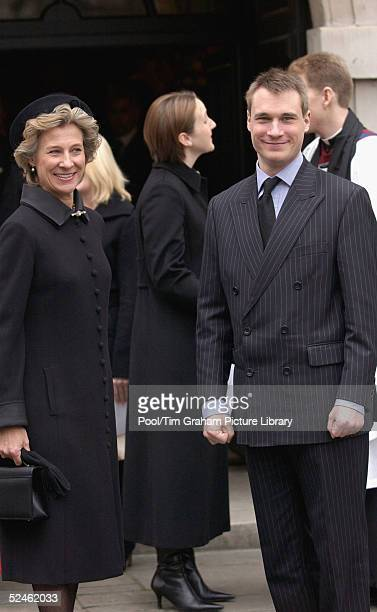 Duchess of Gloucester and her son Alexander the Earl of Ulster attend the memorial service for HRH Princess Alice at St Clement Danes on February 2...