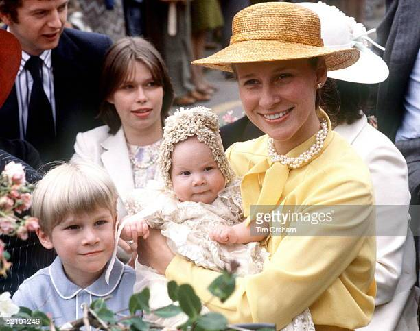 Duchess Of Gloucester With Her Son The Earl Of Ulster And Baby Lady Rose Windsor After Her Christening Behind Is Lady Sarah Armstrongjones Godmother