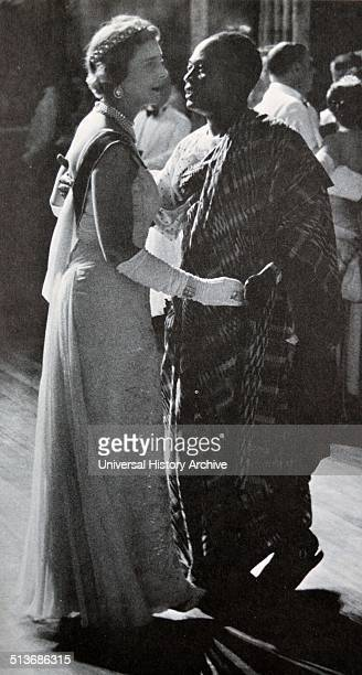 Duchess of Kent dances with Kwame Nkrume first President of Ghana at celebrations to mark Ghana's independence in 1957