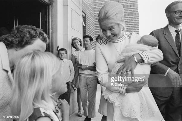 Duchess of Kent leaves King's College Hospital with her newborn Nicholas, London, UK, 31st July 1970.
