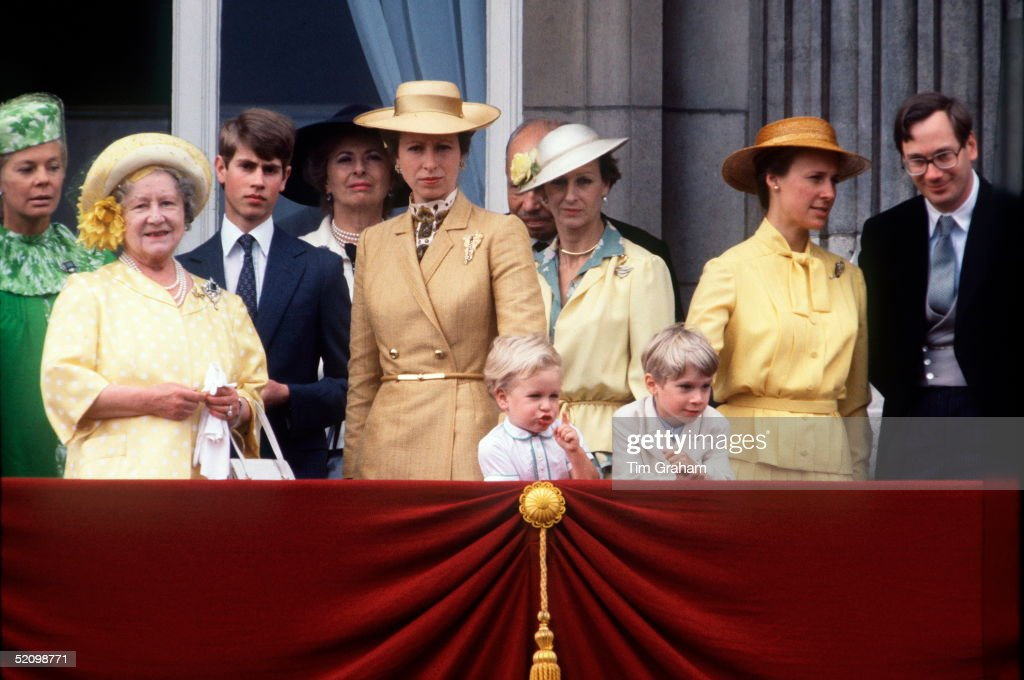 Duchess Of Kent, The Queen Mother, Prince Edward, Princess Anne, Princess Alexandra, Duchess Of Gloucester And The Duke Of Gloucester Watching Trooping The Colour From The Balcony Of Buckingham Palace. Peter Phillips Is Pointing At The Parade