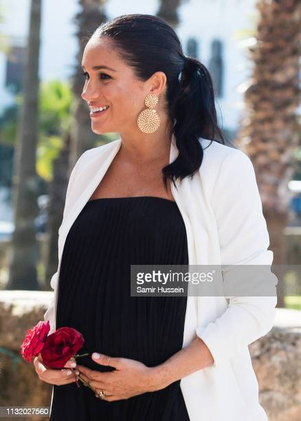 Duchess of Sussex is seen visiting the Andalusian Gardens to hear about youth empowerment in Morocco from a number of young social entrepreneurs on...