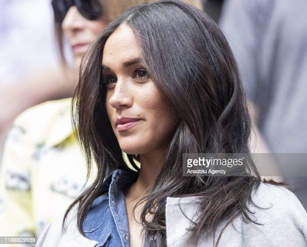 Duchess of Sussex, Meghan Markle watches the US Open Championships women's singles final match between Serena Williams of USA and Bianca Andreescu of...