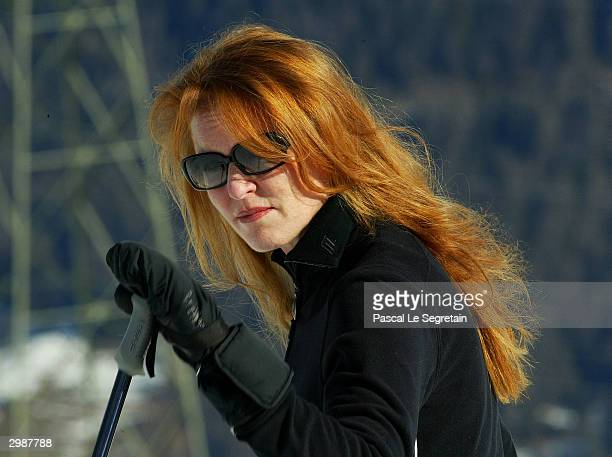 Duchess of York poses for photographers on February 16 2004 in Verbier Switzerland