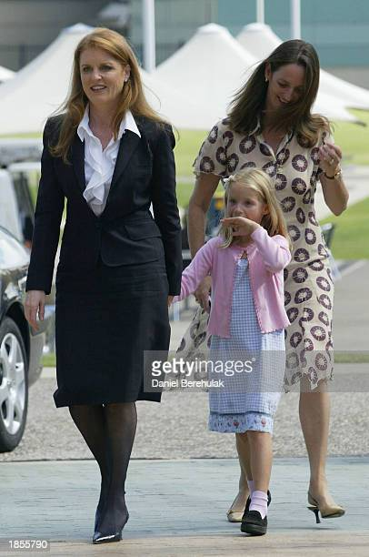 Duchess of York Sarah Ferguson walks with sister Jane and niece Heidi to attend a Weight Watchers Super Meeting at Fox Studios on March 18 2003 in...